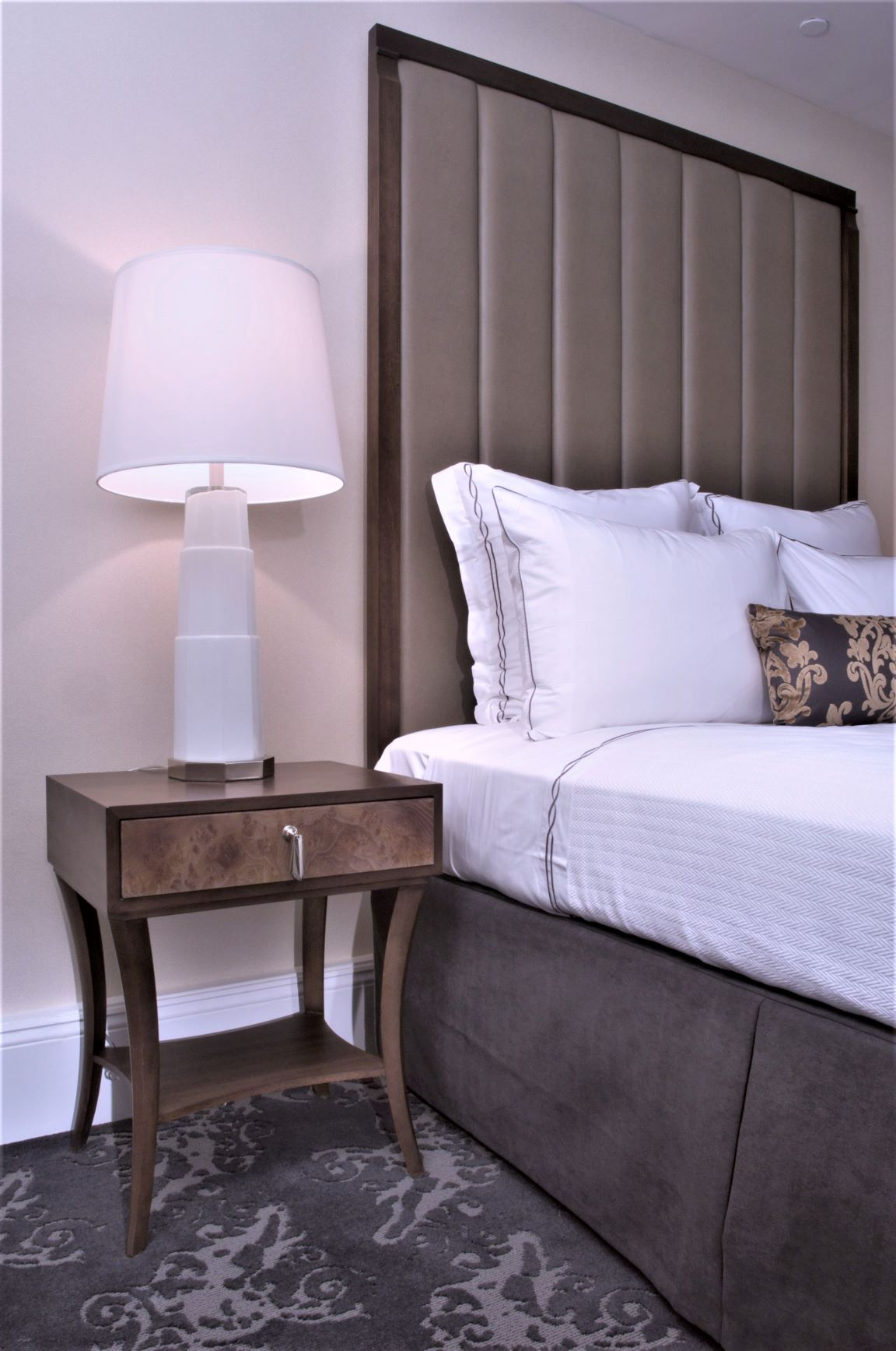 hotel headboard and night stand